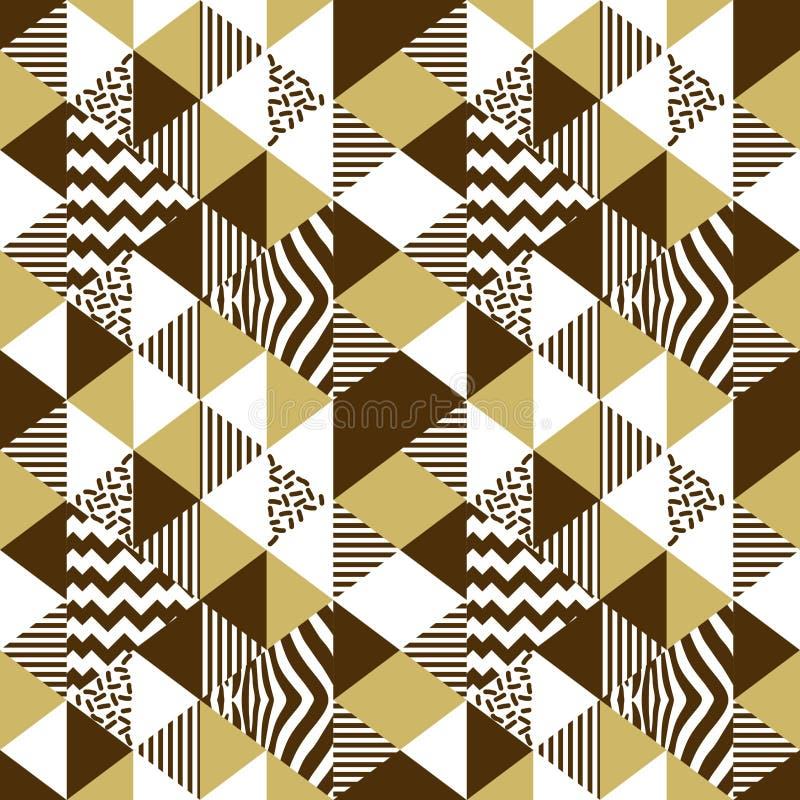 Vector inconsútil del modelo del triángulo geométrico con colores de oro Vector abstracto de lujo del fondo de Memphis 90s del or stock de ilustración