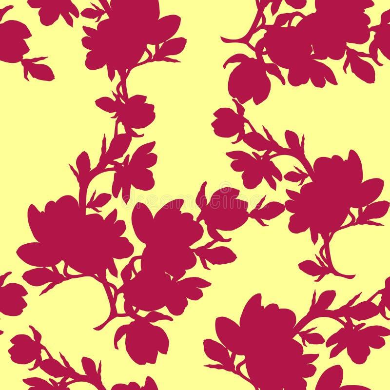 Vector inconsútil del rojo de la flor de la magnolia de la rama de la silueta del modelo stock de ilustración