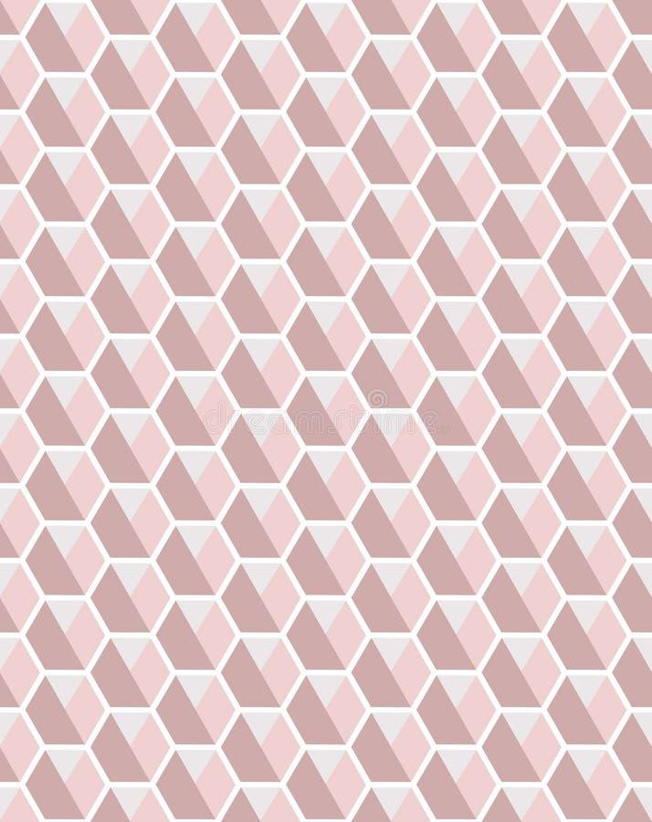 Vector inconsútil geométrico del modelo de la repetición de los hexágonos en tonos rosas claros y grises ilustración del vector