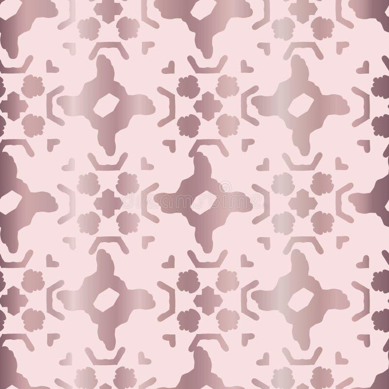 Vector inconsútil metálico de Rose Gold Geo Grid Pattern, formas exhaustas de la hoja stock de ilustración