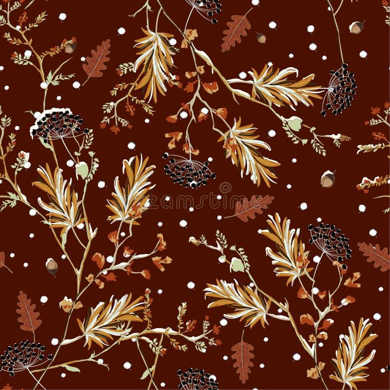 Vector inconsútil retro del modelo de la nieve del invierno en el diseño suave de la flor del jardín y hermoso delicado del humor stock de ilustración