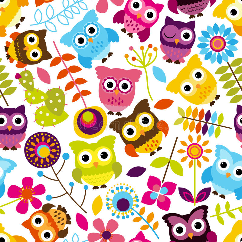 Vector inconsútil y de Tileable Owl Background Pattern ilustración del vector