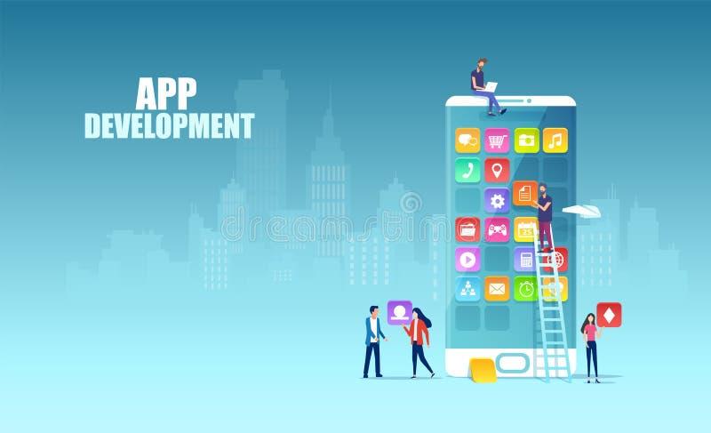 Vector of Independent Software Professionals utvecklar nya appar för mobila enheter royaltyfri illustrationer