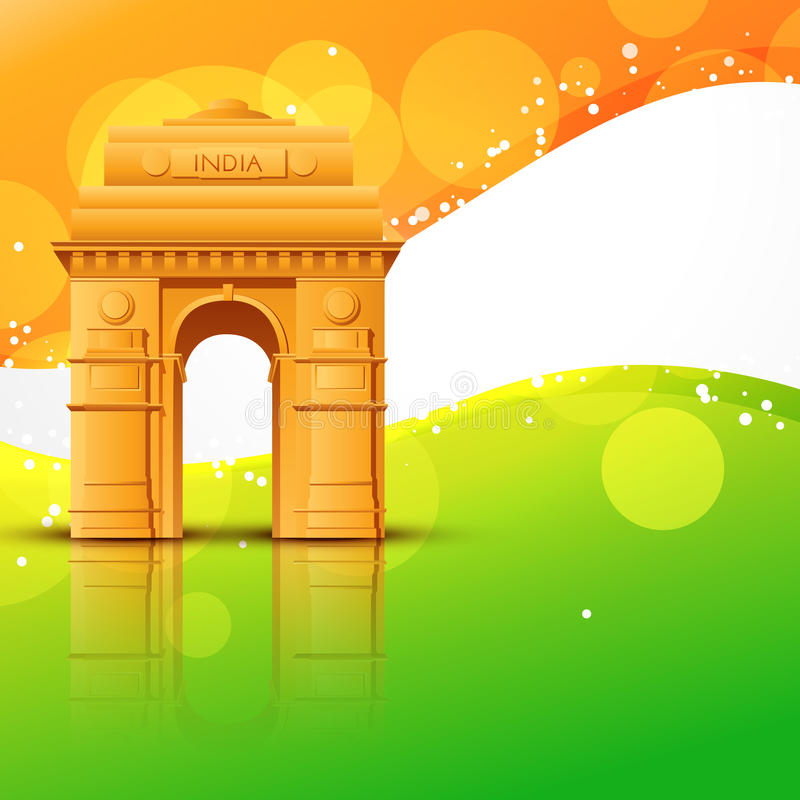 Vector india gate. With indian flag design stock illustration