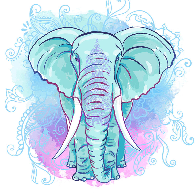 Vector Indian Elephant on the Watercolor Blot vector illustration