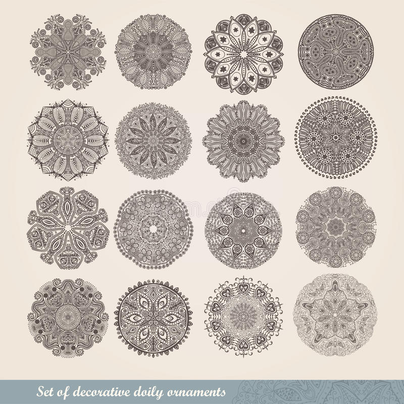 Vector Indian ornament, kaleidoscopic floral pattern, mandala. Set of sixteen ornament lace. ornamental round lace pattern, circle royalty free illustration