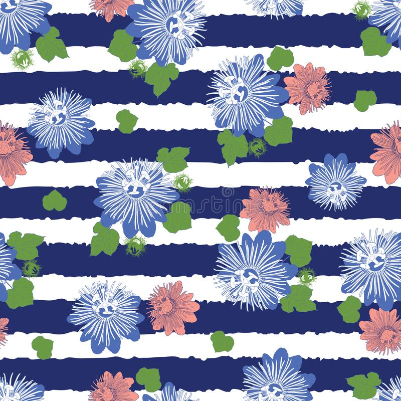 Vector indigo blue stripes seamless pattern with leaves and wild flower. Suitable for textile, gift wrap and wallpaper. stock illustration