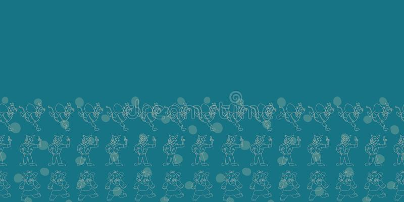Vector indigo horizontal border with anthropomorphic cartoon characters and polka dots for seamless pattern background. Perfect for wallpaper, fabrics, gift stock illustration