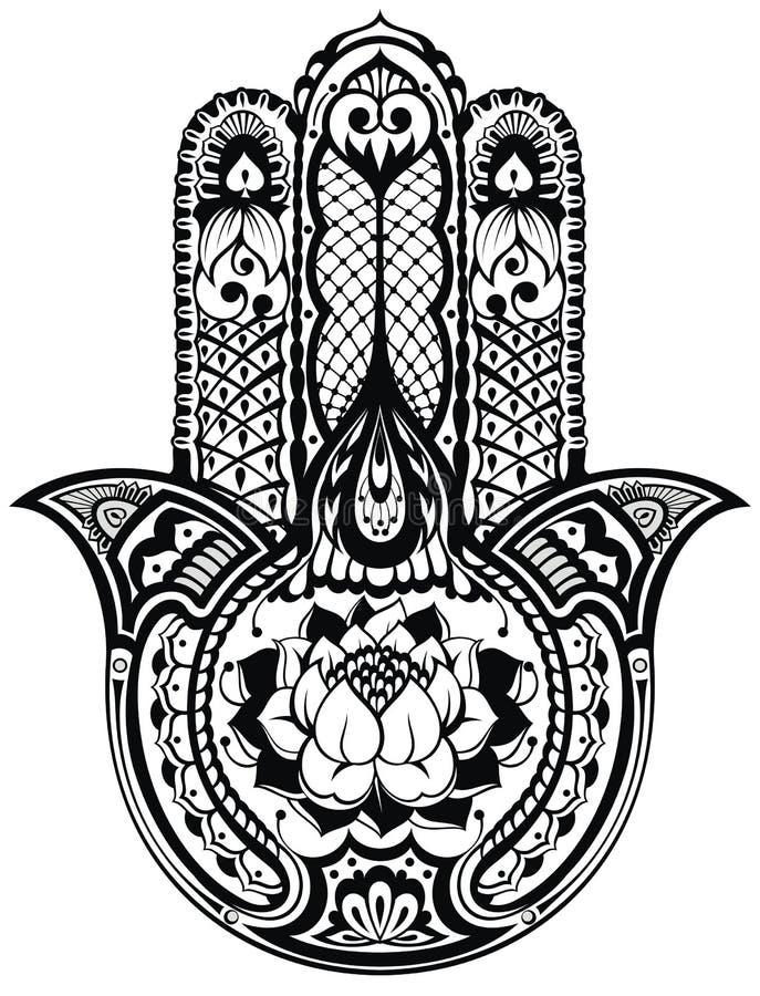 Vector Indisch hand getrokken hamsasymbool vector illustratie