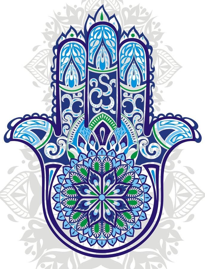 Vector Indisch hand getrokken hamsasymbool stock illustratie