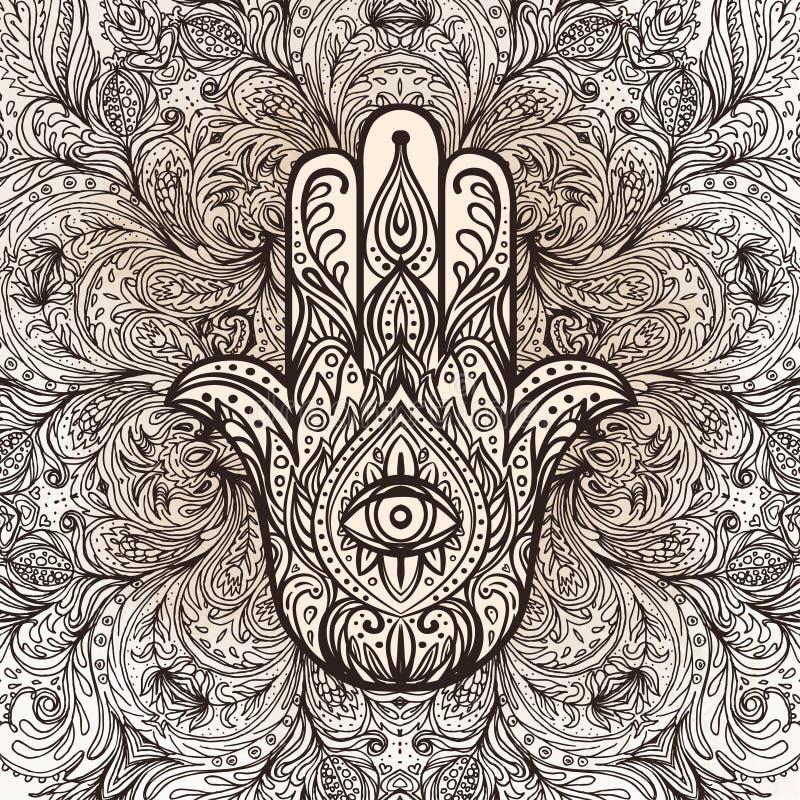 Vector indische Hand gezeichnetes hamsa über rundem Mandalamuster Ethni stock abbildung