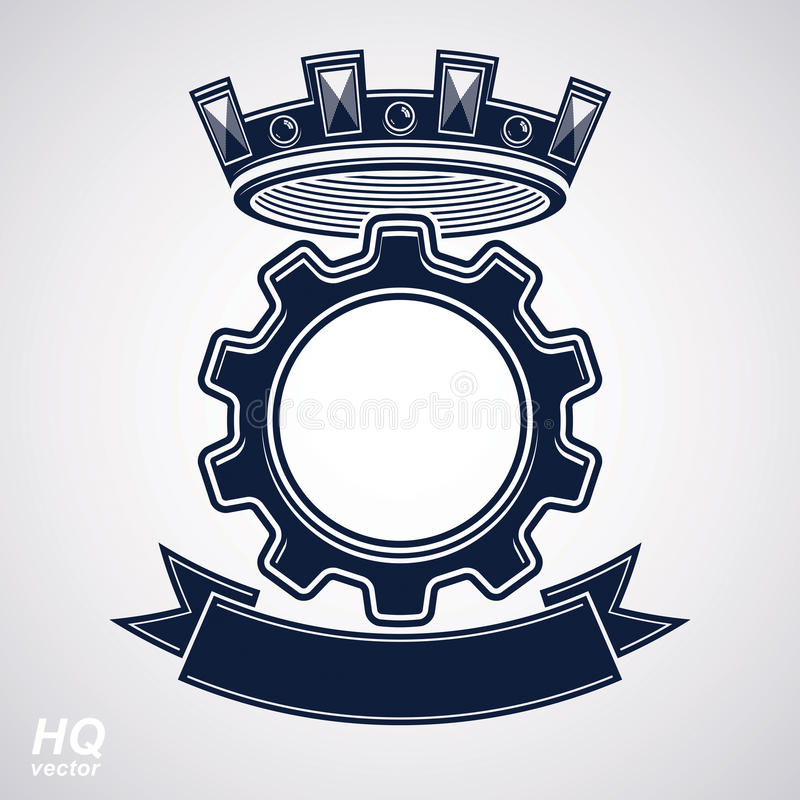 Vector industrial design element, cog wheel with a coronet and black decorative curvy ribbon. High quality manufacturing gear icon stock illustration