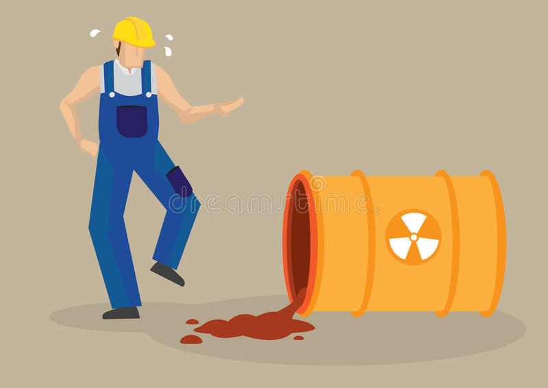 Vector industrial Illustrat del accidente de lugar de trabajo del derramamiento radiactivo libre illustration