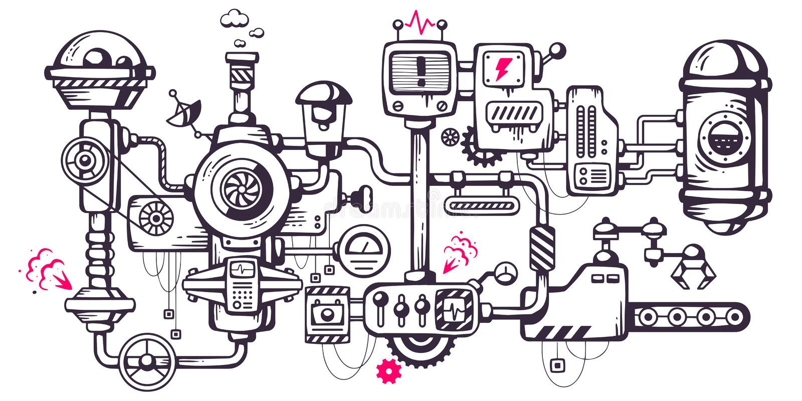 Vector industrial illustration background of the operating mechanism. stock images