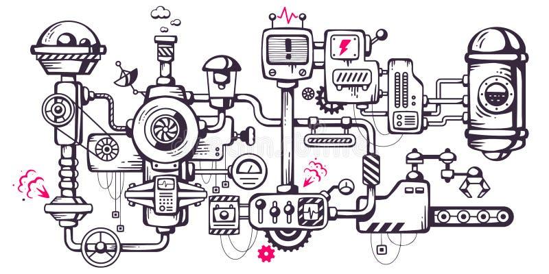 Vector industriellen Illustrationshintergrund des funktionierenden mecha stockbilder