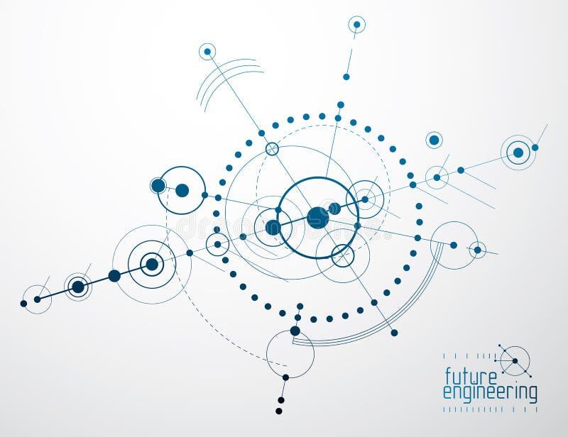 Vector industriellen und Technikhintergrund, zukünftigen technischen Plan Abstrakter Plan des Mechanismus stock abbildung