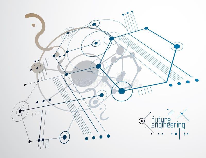 Vector industriellen und Technikhintergrund, zuk?nftigen technischen Plan Abstrakter Plan des Mechanismus stock abbildung