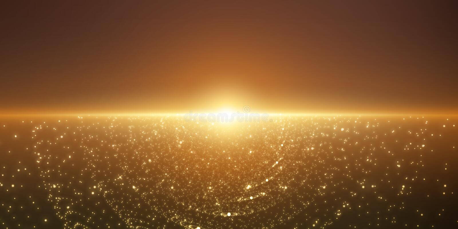 Vector infinite space background. Matrix of glowing stars with illusion of depth and perspective. Abstract cyber fiery sunrise. Abstract futuristic universe on vector illustration