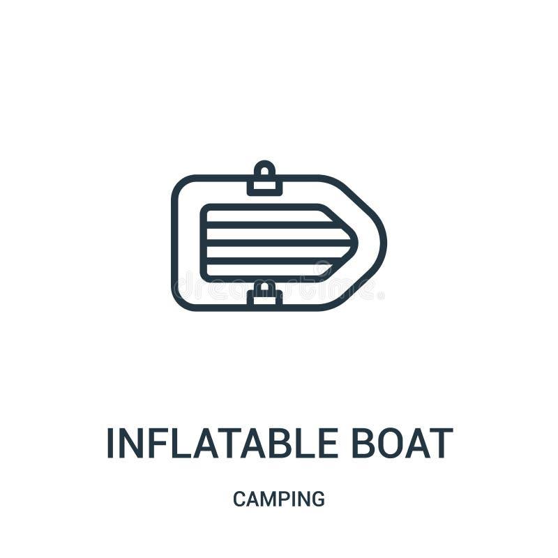 vector inflable del icono del barco de la colección que acampa Línea fina ejemplo inflable del vector del icono del esquema del b ilustración del vector