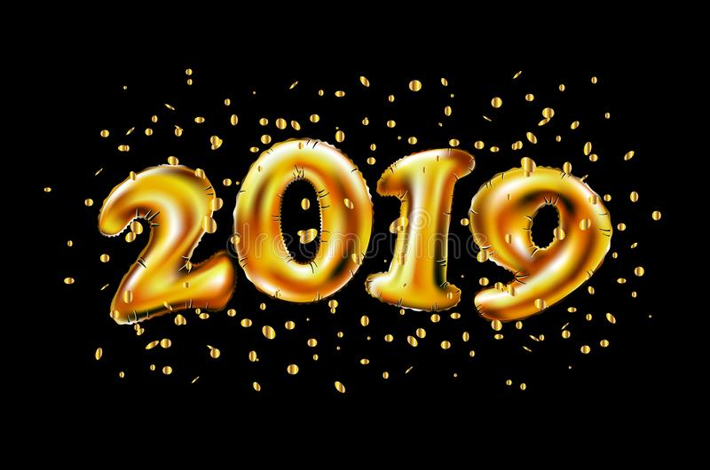 Vector 2019. Inflatable Gold Numbers on the Background of the Black Stone Wall New Year royalty free illustration