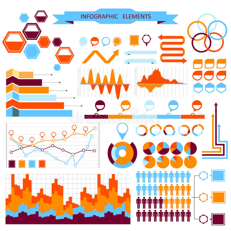 Vector info-graphic elements set royalty free illustration