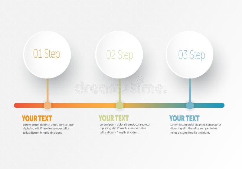 Vector infographic Bedrijfselement voor chronologie met de cirkelring van 3 stappenetiketten royalty-vrije illustratie