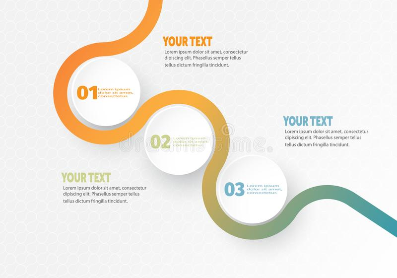 Vector infographic Bedrijfselement voor chronologie met de cirkelring van 3 stappenetiketten vector illustratie