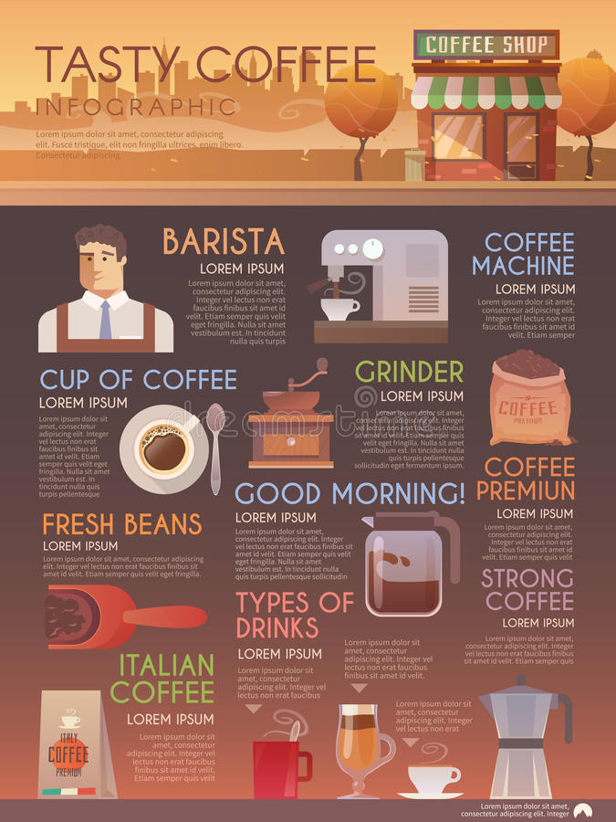 English In Italian: Vector Infographic Brochure. Drinks. Coffee. Stock Vector