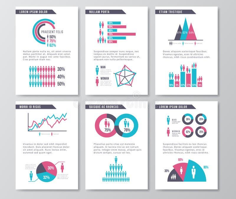 Vector infographic Broschürenseiten des Geschäfts mit Demographieikonen, -diagrammen und -elementen vektor abbildung