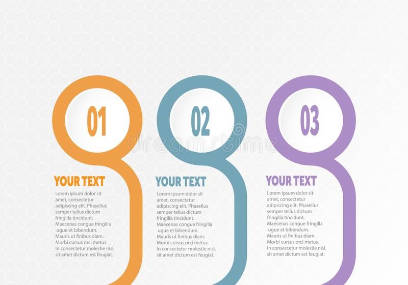 Vector infographic Business for timeline with 3 steps labels circle ring with gradient color for each step. Vector infographic Business element for timeline royalty free illustration