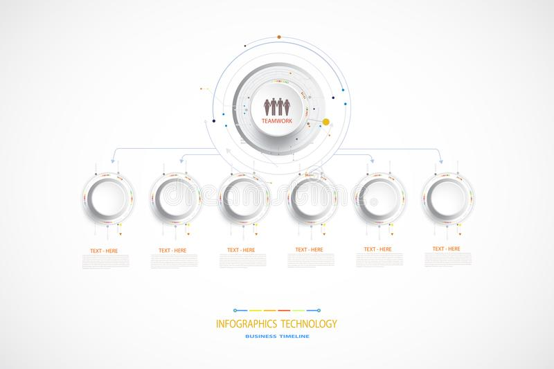 Vector infographic timeline technology template with 6 step. Vector infographic business timeline technology template, integrated circles. Business concept with royalty free stock photos