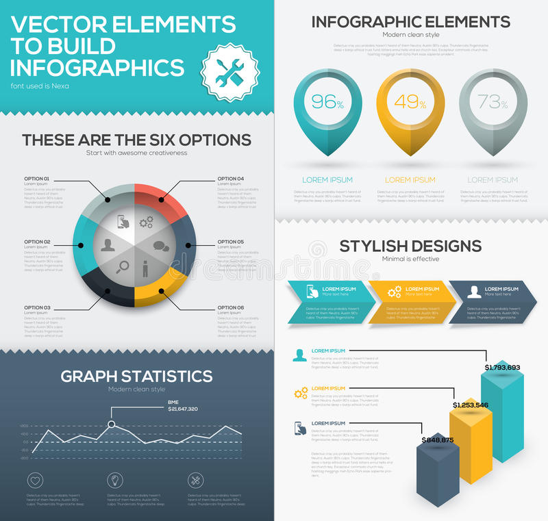 Vector infographic chart elements to business data visualization royalty free illustration