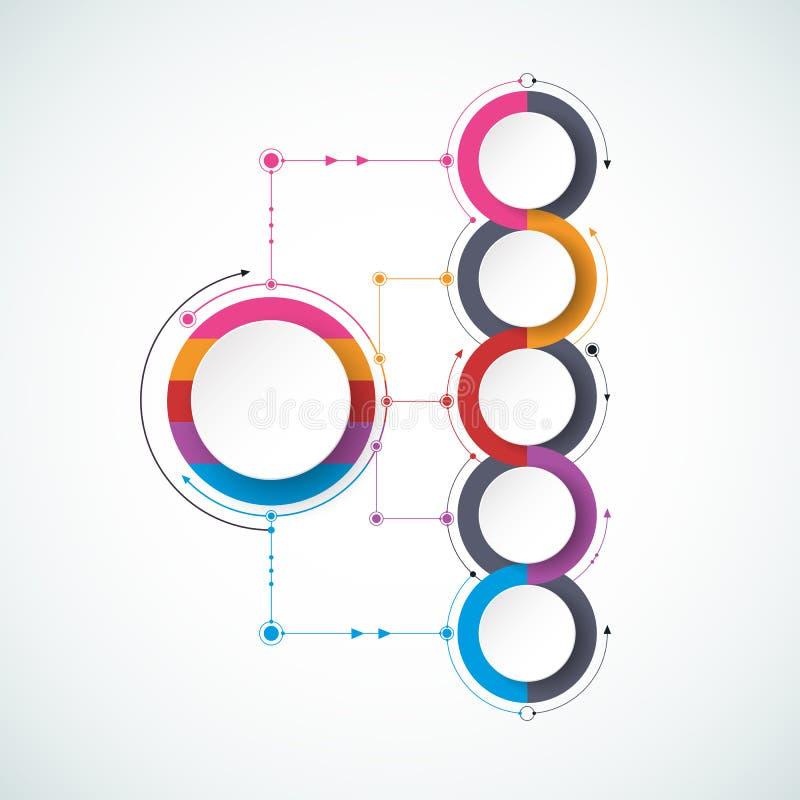 Vector infographic chronologie met 3D document etiket, geïntegreerde cirkelsachtergrond vector illustratie