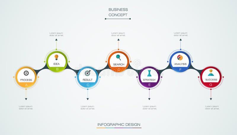 Vector infographic chronologiemalplaatje met 3D document etiket, geïntegreerde cirkels stock illustratie