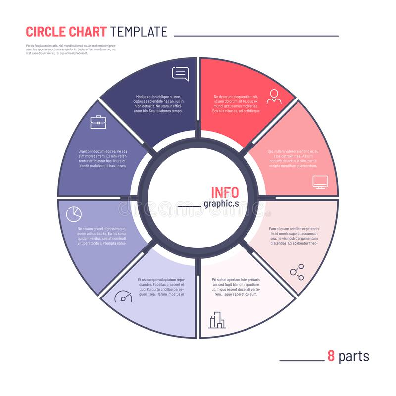 Vector infographic circle chart template. Eight parts.  stock illustration