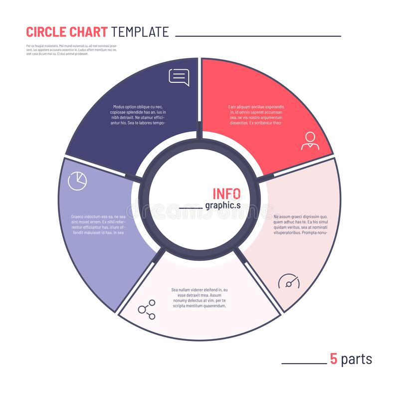 Vector infographic circle chart template. Five parts.  vector illustration