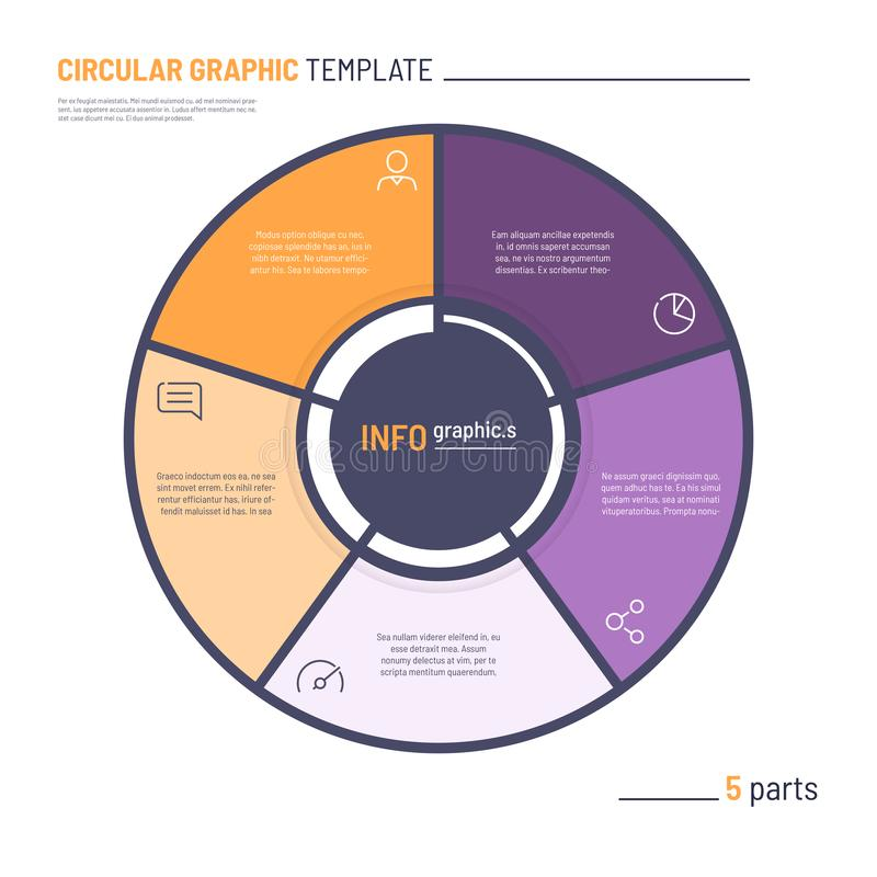 Vector infographic circle chart template. Five parts vector illustration
