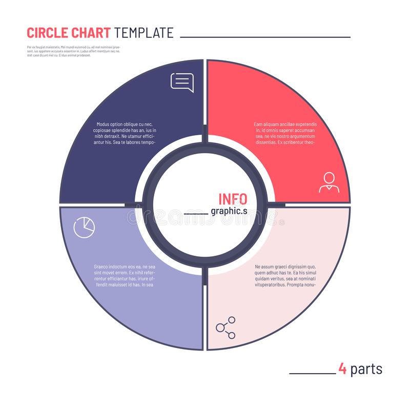 Vector infographic circle chart template. Four parts.  vector illustration