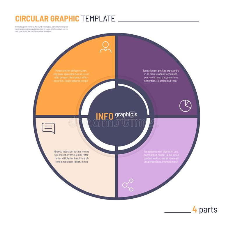 Vector infographic circle chart template. Four parts.  royalty free illustration
