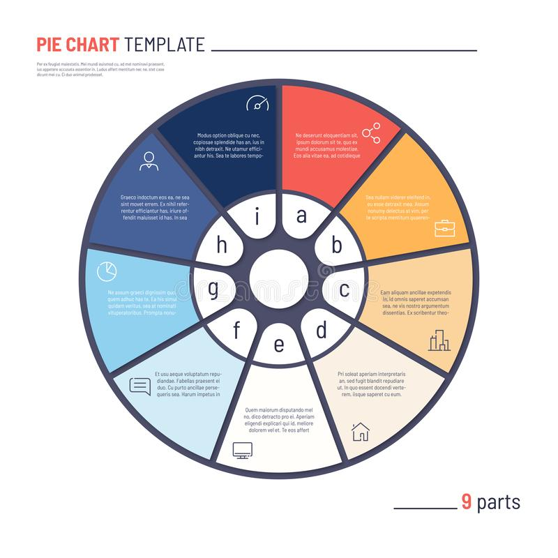 Vector infographic circle chart template. Nine parts.  royalty free illustration