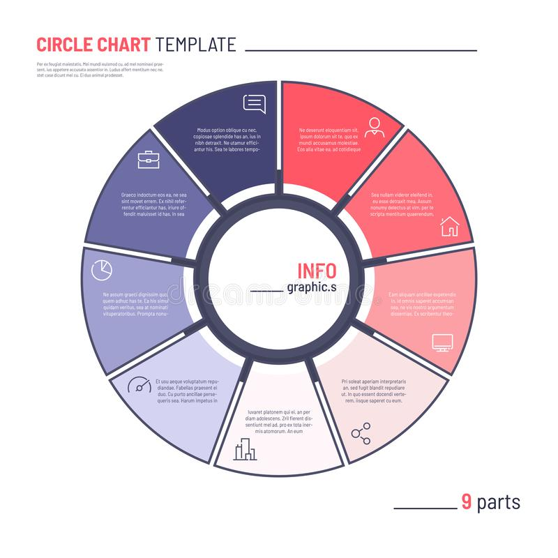 Vector infographic circle chart template. Nine parts.  stock illustration