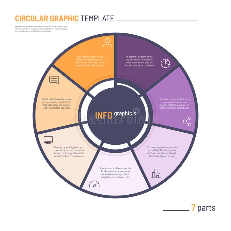 Vector infographic circle chart template. Seven parts.  vector illustration
