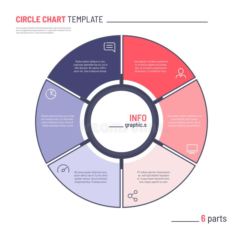 Vector infographic circle chart template. Six parts.  vector illustration