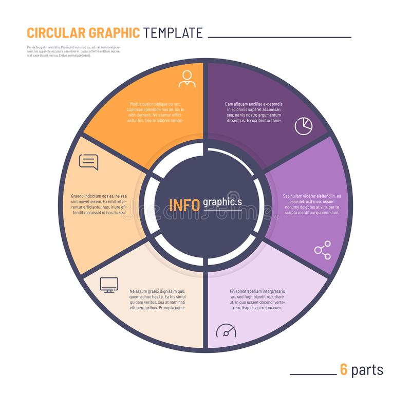 Vector infographic circle chart template. Six parts.  stock illustration