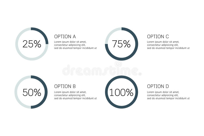 Vector infographic cirkel, cyclusdiagram, grafiek, presentatiecirkeldiagram Bedrijfsconcept met 4 opties, delen, stappen, process royalty-vrije illustratie