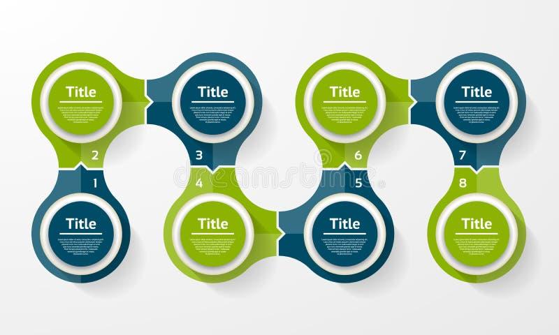 Vector infographic cirkel Malplaatje voor cyclusdiagram, grafiek, presentatie en ronde grafiek Bedrijfsconcept met 8 opties, dele royalty-vrije illustratie