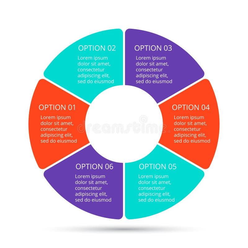 Vector infographic cirkel Malplaatje voor cyclusdiagram, grafiek, presentatie en ronde grafiek Bedrijfsconcept met 6 royalty-vrije illustratie