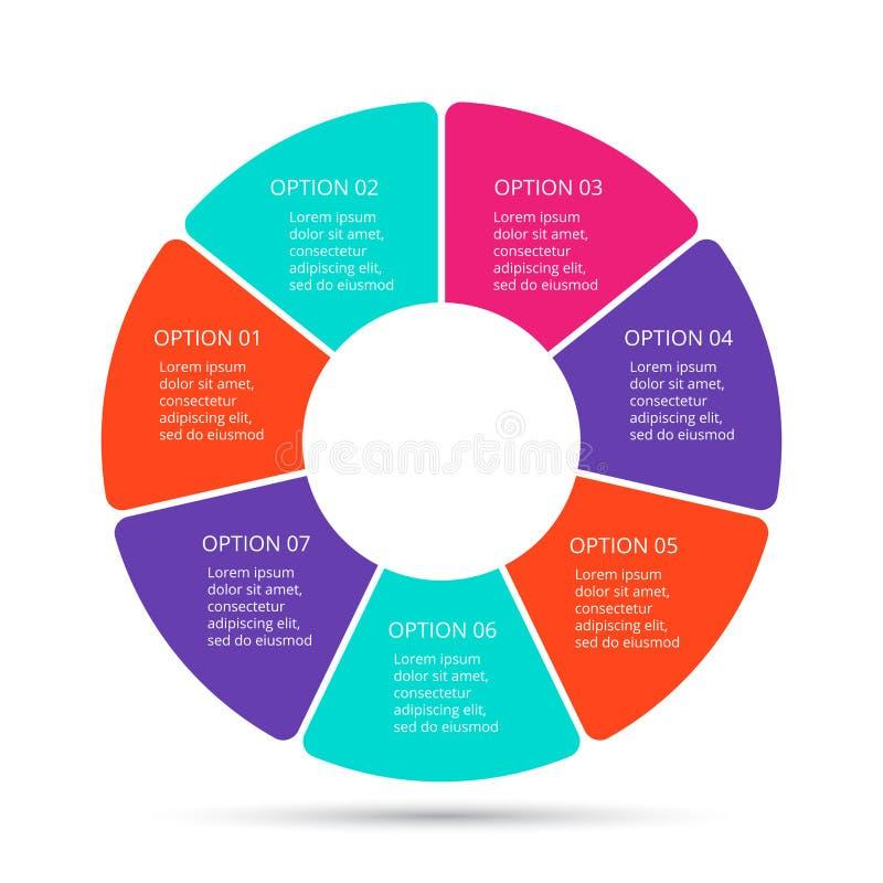 Vector infographic cirkel Malplaatje voor cyclusdiagram, grafiek, presentatie en ronde grafiek Bedrijfsconcept met 7 vector illustratie