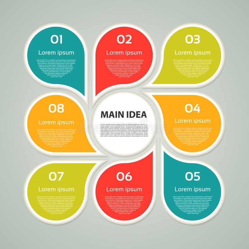 Vector infographic cirkel Malplaatje voor cyclusdiagram, grafiek, presentatie en ronde grafiek Bedrijfsconcept met 8 opties, dele stock illustratie