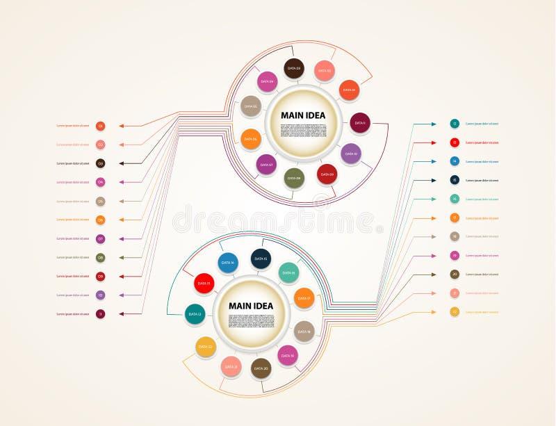 Vector infographic cirkel Malplaatje voor diagram, grafiek, chronologie, presentatie en grafiek Bedrijfsconcept met elf opties, p stock illustratie